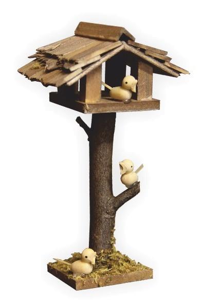 Vogelhäuschen mit Vögel als Krippenstalldeko